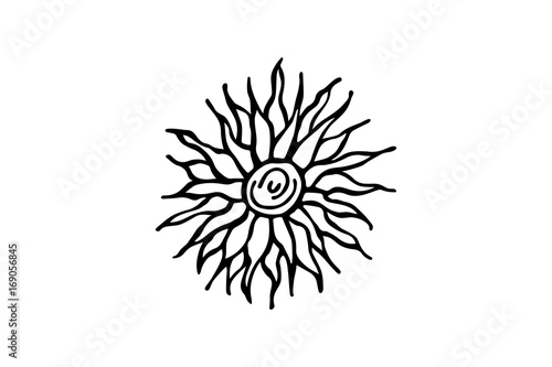 Line Art Of Sun : Abstract drawing of the sun vector illustration. buy this stock