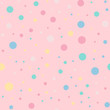 Colorful polka dots seamless pattern on bright 9 background. Wondrous classic colorful polka dots textile pattern. Seamless scattered confetti fall chaotic decor. Abstract vector illustration.