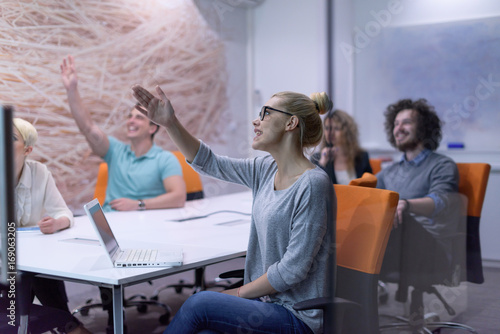 Fototapety, obrazy: Startup Business Team At A Meeting at modern night office building