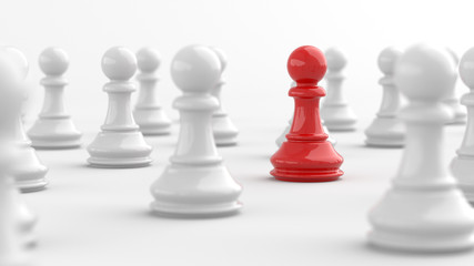 Leadership, red pawn of chess, standing out from the crowd of white pawns. 3D Rendering.