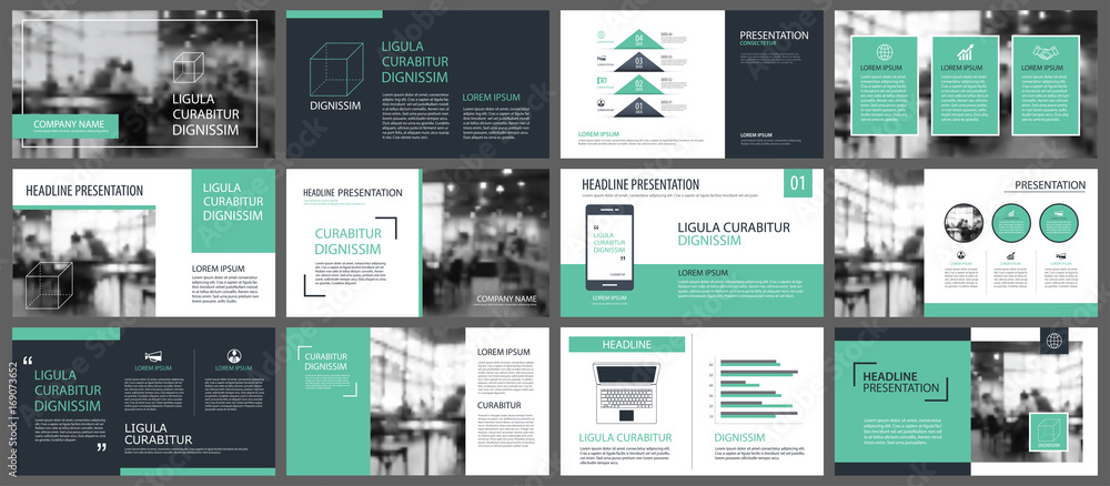 Fototapeta Green presentation templates and infographics elements background. Use for business annual report, flyer, corporate marketing, leaflet, advertising, brochure, modern style.