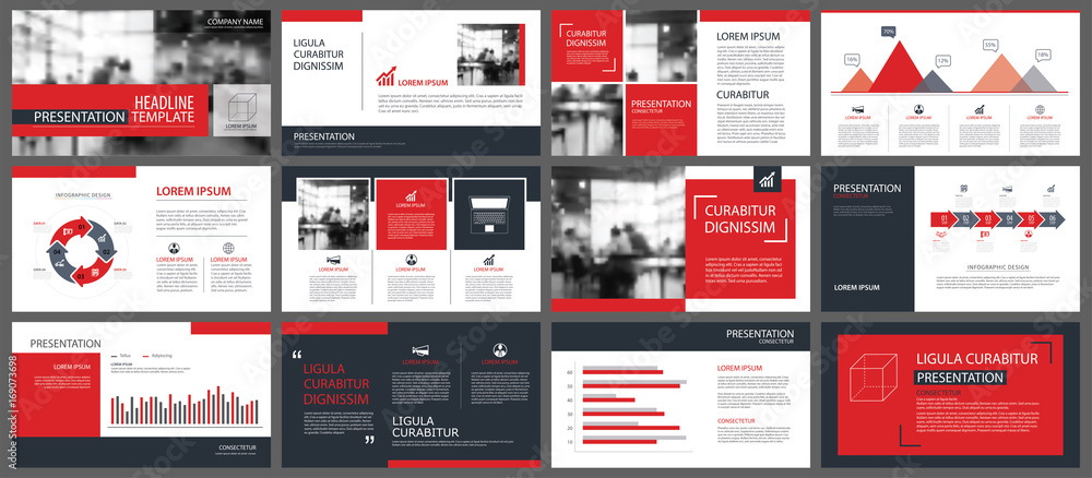 Fototapeta Red presentation templates and infographics elements background. Use for business annual report, flyer, corporate marketing, leaflet, advertising, brochure, modern style.