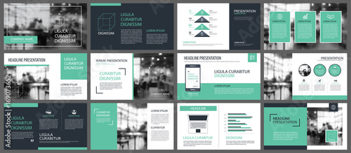 Foto  Green presentation templates and infographics elements background