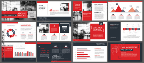 Fototapeta Red presentation templates and infographics elements background. Use for business annual report, flyer, corporate marketing, leaflet, advertising, brochure, modern style. obraz