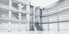 Interior Of The Atrium Of The Shopping Center. Supermarket. 3d Image.