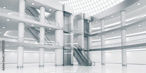 Interior of the atrium of the shopping center Canvas Print