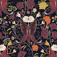 Floral Vintage Seamless Pattern. Retro Plants Style. Vertical Decorative Flowers, Modern Motif. Colorful Damask Ornament