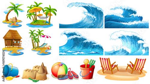 Photo sur Toile Jeunes enfants Summer theme with blue waves and islands