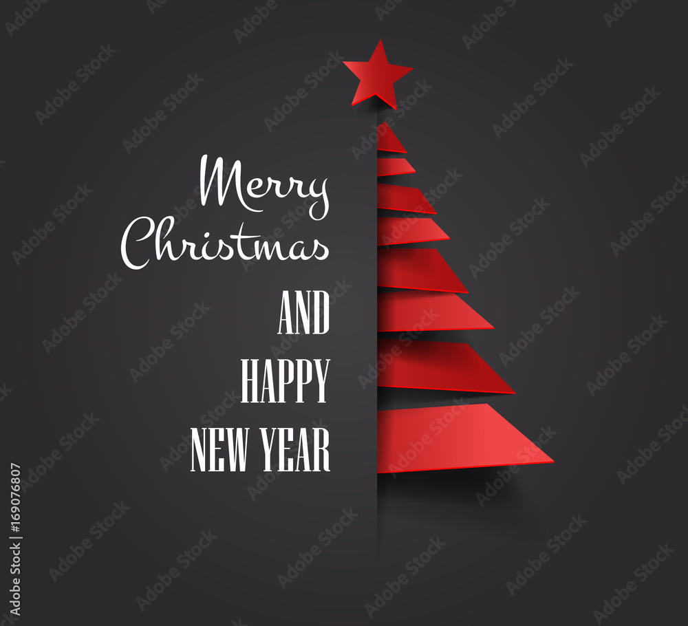 Fototapeta Merry christmas happy new year golden triangle tree low poly. christmas tree, design, vector illustration. Creative Christmas tree. Merry christmas greeting card.