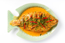 Traditional Thai Food, Fried Fish Toppted With Spicy Curry