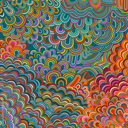 Fotomural Colorful psychedelic background, hippie era, eps10 vector