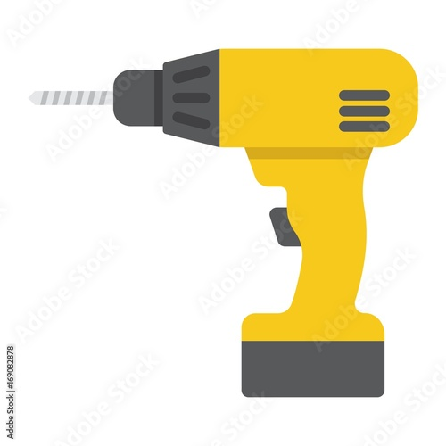 Carta da parati Electric Drill flat icon, build and repair, electrical screwdriver sign vector graphics, a colorful solid pattern on a white background, eps 10