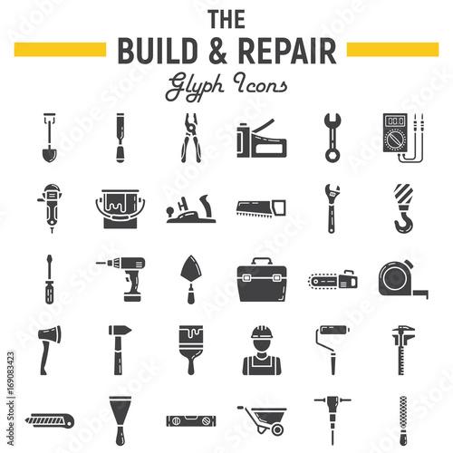 Build and Repair glyph icon set, construction symbols