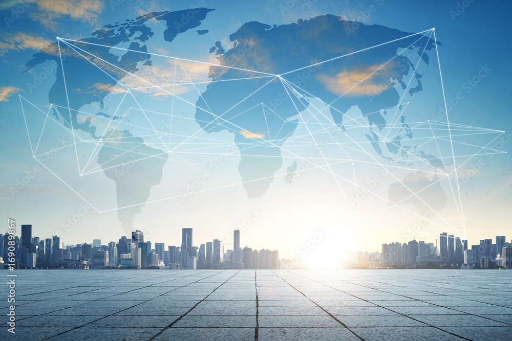 Fototapety, obrazy: Smart city and wifi wireless internet .communication network .