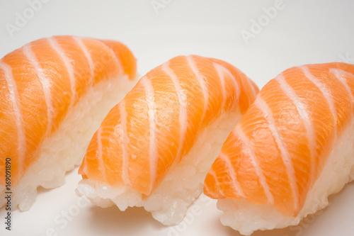 Poster Fish Sushi on white background