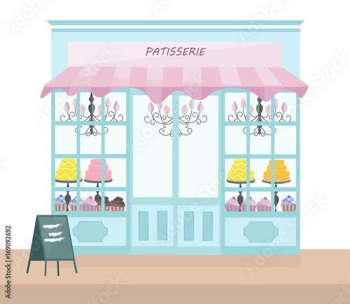 Fotografia Bakery store architectural facade Vector illustration template