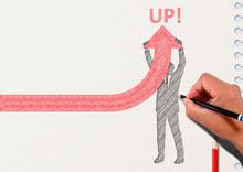 矢印を上に向けるビジネスマンのシルエットとノートの背景