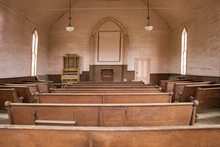 Wooden Pews Inside Rustic Wood...