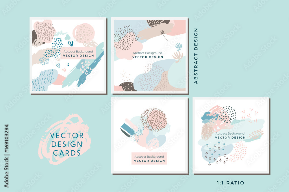 Fototapety, obrazy: Collection of Vector Abstract Cards, Hand Painted Design Elements, Organic Shapes, Abstract Backgrounds