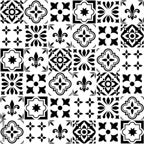 Photo Geometric vector tile design, Portuguese or Spanish seamless black and white til