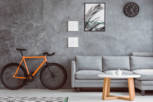 Orange Bike In Living Room