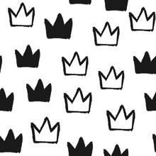 Repeated Silhouettes And Outlines Of Crowns. Seamless Pattern. Grunge, Graffiti, Ink, Watercolor, Sketch.