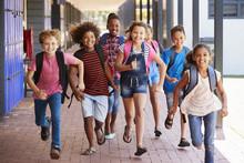 School Kids Running In Element...
