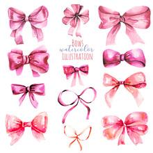 Set Of Watercolor Pink Bows, H...