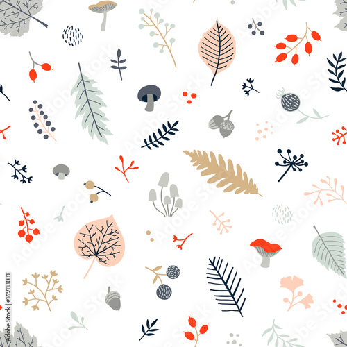 Cotton fabric Seamless autumn pattern with leaves, berries, mushrooms and branches