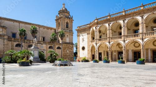 Mazara del Vallo (Italy) - Piazza della Repubblica, with San Vito statue, Palazzo del Seminario and Santissimo Salvatore Cathedral