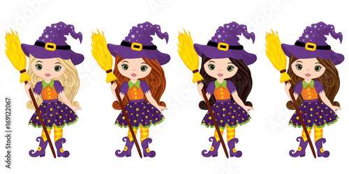Cuadros en Lienzo  Vector Cute Little Witches with Broomsticks