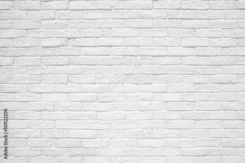 Tuinposter Baksteen muur White brick wall texture and background.