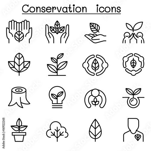 Fotografía  Eco friendly & Conservation icon set in thin line style