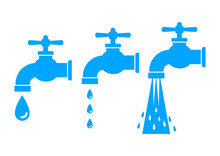 Faucet Vector Icons On White B...