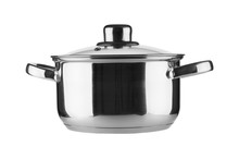 Stainless Steel Pot On White B...