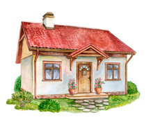 House, Cottage With Lawn Isolated On White Background. Bushes. Roses In A Pot. Watercolor. Illustration. Handmade