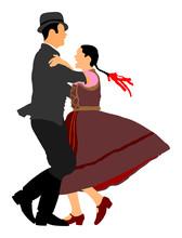 Hungarian Folk Dancers Couple ...