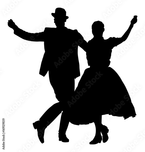Fotografía Hungarian folk dancers couple vector silhouette