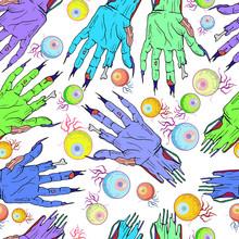 Seamless Zombie Hand, Eye Patt...
