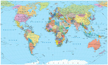 Colored World Map - Borders, C...