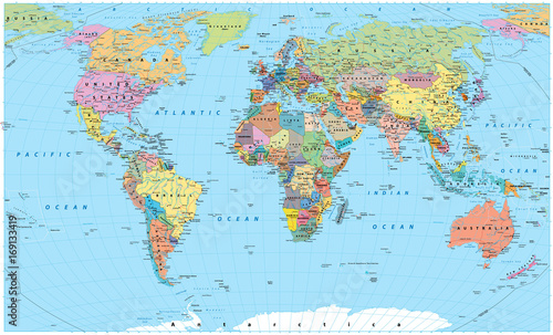 Fototapeta Colored World Map - borders, countries, roads and cities obraz