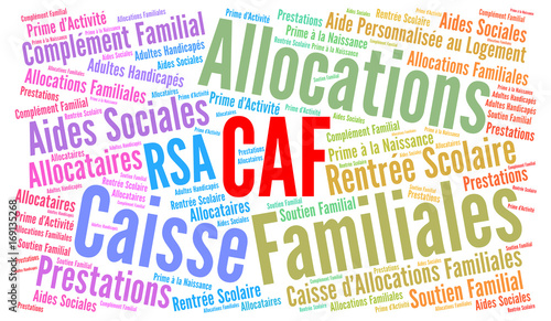 CAF, caisse d'allocations familiales nuage de mots Wallpaper Mural