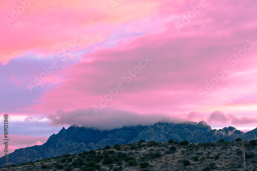 Cadres-photo bureau Rose banbon Pink sunset clouds Big Bend NP Texas USA