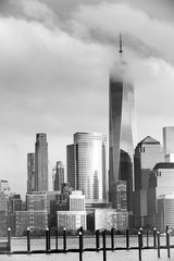 Black and white cloudy day of lower Manhattan New York