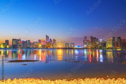Photo Stands Hangzhou CBD building night view