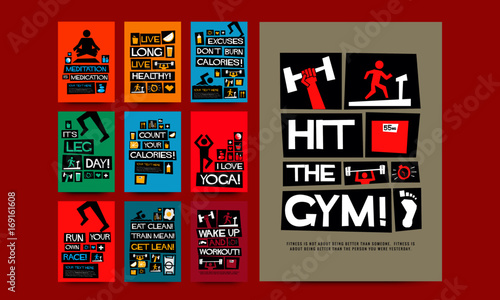 Set of 10 Fitness Motivation Posters © Akshar