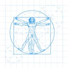 The Vitruvian Man Blueprint. Called Leonardo's Man. Detailed Vector Drawing Based On The Artwork By Leonardo Da Vinci C. 1490.