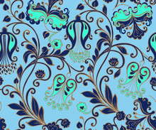 Seamless Blue Floral Pattern With Gold. Decorative Ornament Backdrop For Fabric, Textile, Wrapping Paper