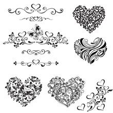 Vector Set Of Decorative Hearts, Vignette, Vintage Decorative Elements