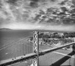 Aerial view of Bay Bridge in San Francisco from helicopter, CA
